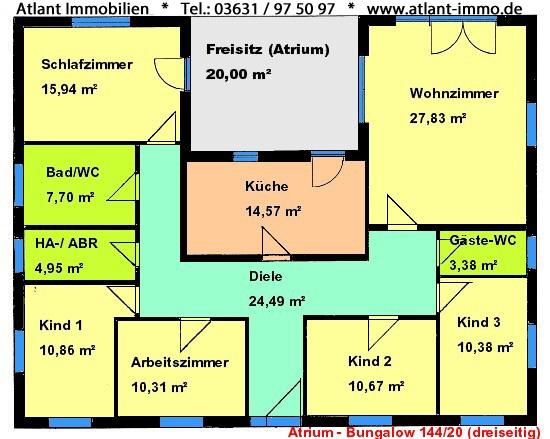Winkelbungalow mit Atrium dreiseitig 143 m² Grundriss