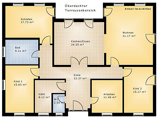Grundriss Bungalow Mit Erker : Bungalow mit Atrium 158 11 Einfamilienhaus Neubau Massivbau Stein auf