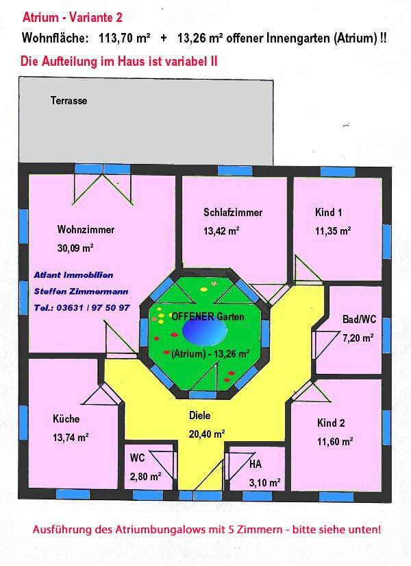 Bungalow 114 m² mit Atrium 13 m² Grundriss