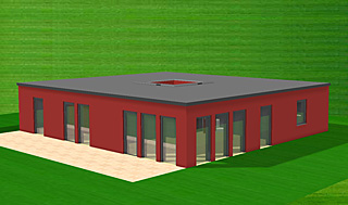 Bungalow mit 128 qm Wohnfläche plus 6 qm Lichthof (Atrium)