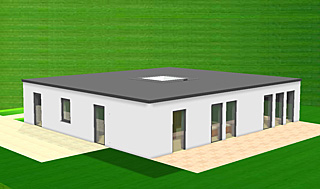 Bungalow mit Atrium 128 qm Wohnfläche plus 6 qm Atrium (Lichthof)