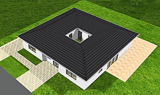 Bungalow mit Atrium 153 qm Wohnflaeche und 14 qm Innengarten (Atrium)