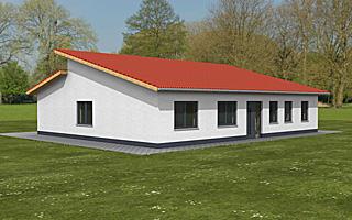atrium bungalow pultdach 144 20 einfamilienhaus neubau massivbau stein auf stein. Black Bedroom Furniture Sets. Home Design Ideas