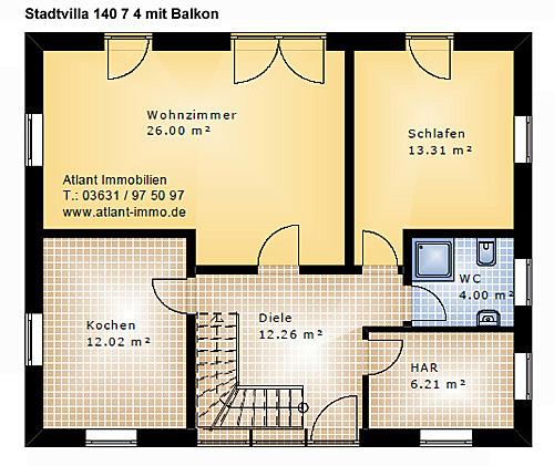 Grundriss stadtvilla 140 qm  Stadtvilla 140 4 mit Balkon Einfamilienhaus Neubau Massivbau Stein ...