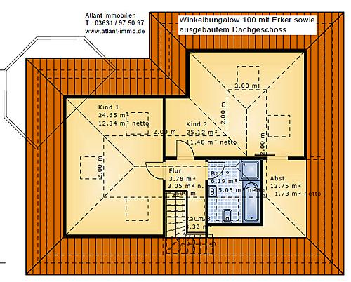 Winkelbungalow 100 mit ausbau dachgeschoss und erker for Raumaufteilung einfamilienhaus neubau