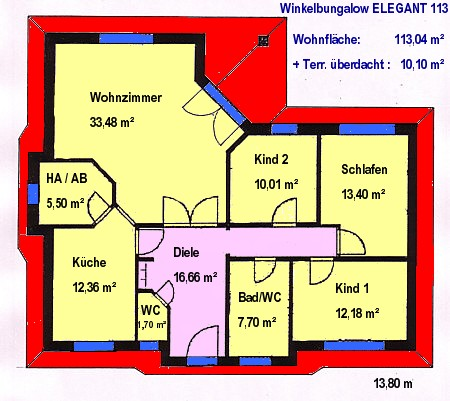Winkelbungalow 113 Grundriss