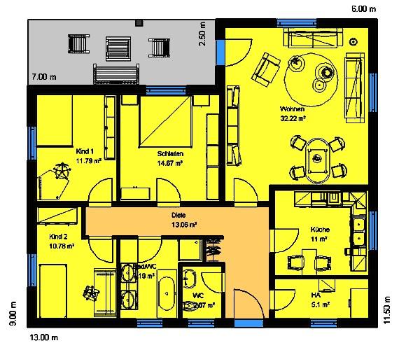 winkelbungalow 114 einfamilienhaus neubau massivbau stein auf stein. Black Bedroom Furniture Sets. Home Design Ideas