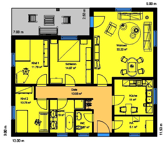 Winkelbungalow 114 m² Grundriss