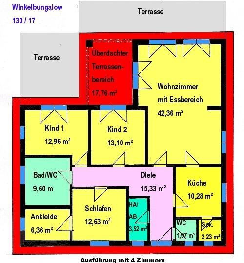 Winkelbungalow 130 m² Wohnfläche Grundriss mit 4 Zimmern