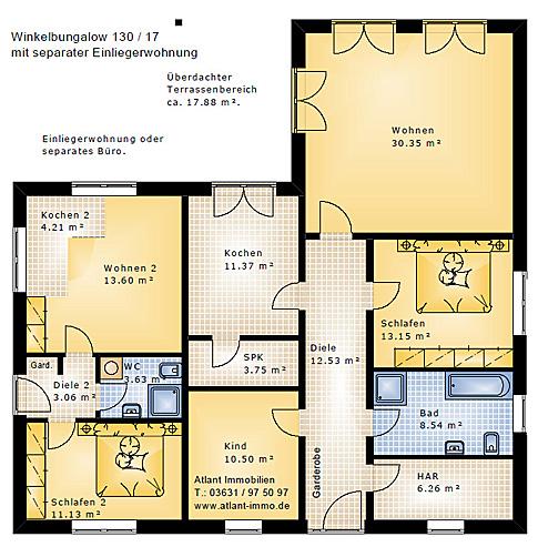 Winkelbungalow 130 17 Einfamilienhaus Neubau Massivbau ...