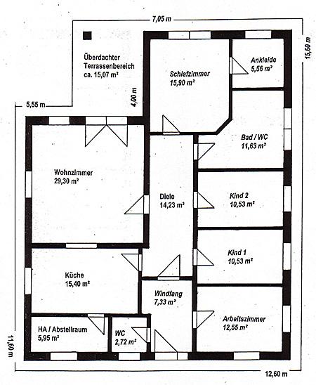 Grundriss Efh Bungalow : Winkelbungalow 141 15 Einfamilienhaus Neubau Massivbau Stein auf Stein