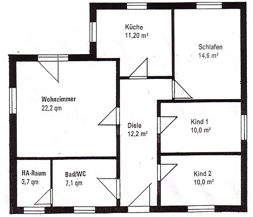 Winkelbungalow 91 m² Grundriss