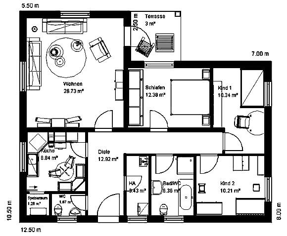 Winkelbungalow 99 m² Grundriss