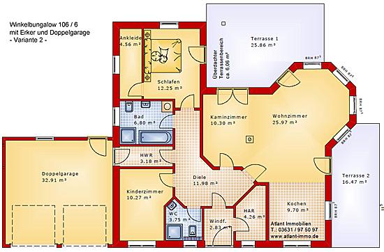 Winkelbungalow 106 6 mit erker und doppelgarage for Einfamilienhaus grundriss mit doppelgarage