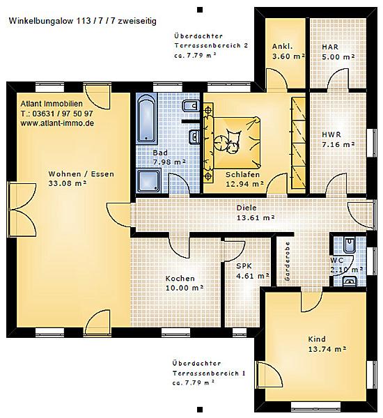 Grundriss Winkelbungalow 113 qm Wohnfläche plus zwei überdachte Terrassenbereiche