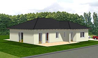 Winkelbungalow 113 qm Wohnfläche plus zwei überdachte Terrassenbereiche Ansicht 2