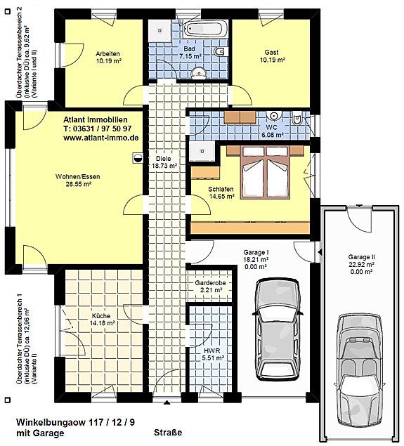 winkelbungalow 117 12 9 mit zwei garagen einfamilienhaus neubau massivbau stein auf stein. Black Bedroom Furniture Sets. Home Design Ideas