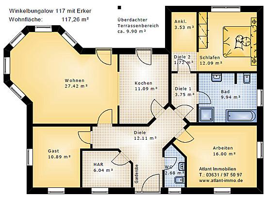 Winkelbungalow mit Lichterker 117 m² Wohnfläche 4 Zimmer