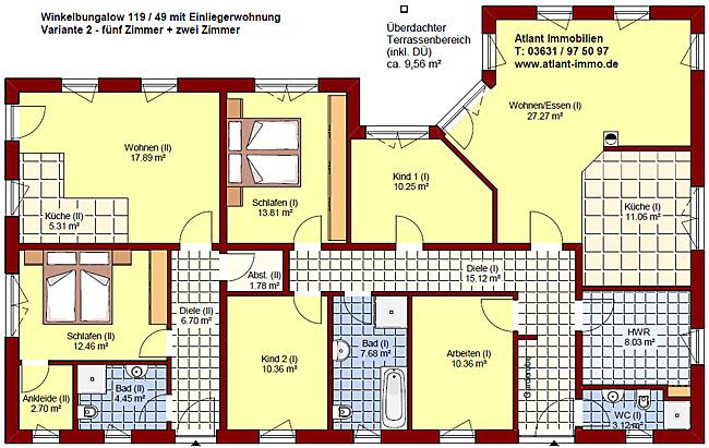 winkelbungalow 119 49 mit einliegerwohnung einfamilienhaus neubau massivbau sein auf stein. Black Bedroom Furniture Sets. Home Design Ideas
