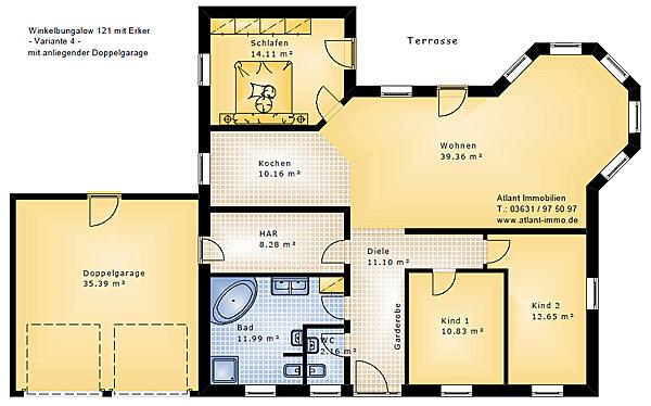 Bungalow grundrisse 5 zimmer mit garage  Winkelbungalow 121 mit Erker Einfamilienhaus Neubau Massivbau ...