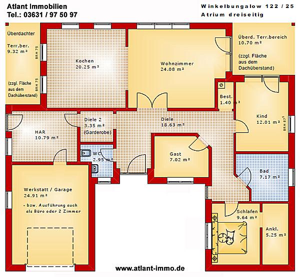 winkelbungalow 122 25 mit atrium und garage einfamilienhaus neubau massivbau stein auf stein. Black Bedroom Furniture Sets. Home Design Ideas