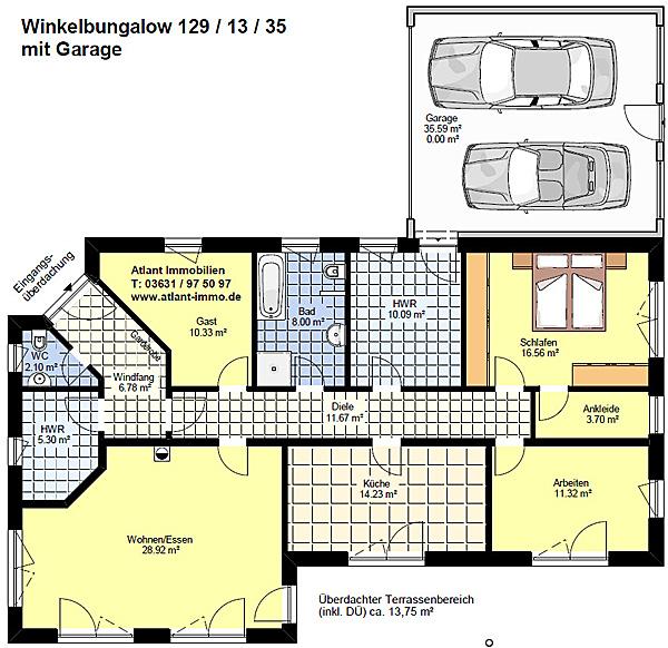 winkelbungalow 129 13 35 mit garage einfamilienhaus neubau massivbau stein auf stein. Black Bedroom Furniture Sets. Home Design Ideas