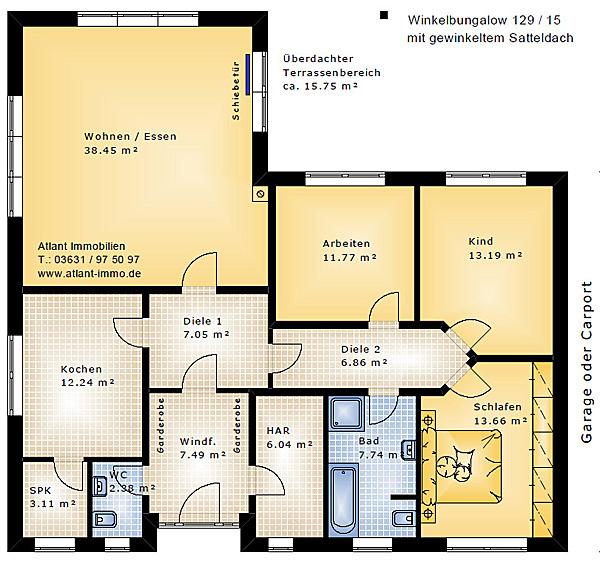 winkelbungalow 129 15 satteldach einfamilienhaus neubau massivbau stein auf stein. Black Bedroom Furniture Sets. Home Design Ideas