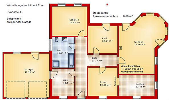 Grundriss Bungalow Mit Erker :  etwas größere Hausvariante  Winkelbungalow 131 mit Erker und Garage
