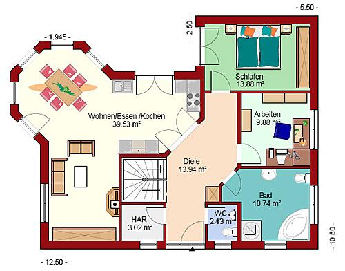 Grundriss Bungalow Mit Erker : Winkelbungalow 134 plus mit Erker Einfamilienhaus Neubau Massivbau