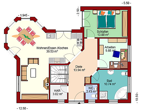 Winkelbungalow 134 plus mit Erker Einfamilienhaus Neubau Massivbau ...