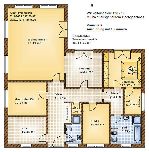 winkelbungalow 136 14 einfamilienhaus neubau massivbau. Black Bedroom Furniture Sets. Home Design Ideas
