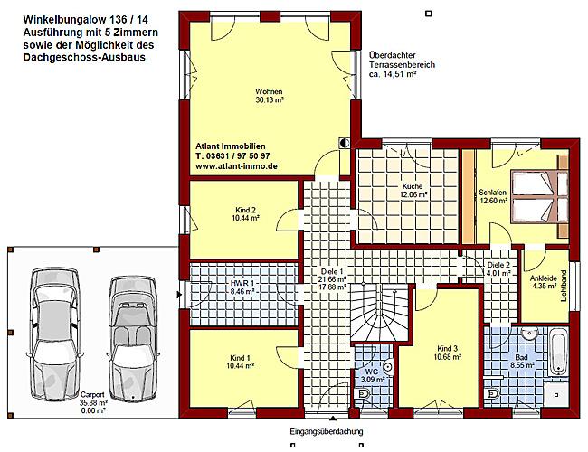 winkelbungalow 136 14 carport einfamilienhaus neubau massivbau stein auf stein. Black Bedroom Furniture Sets. Home Design Ideas