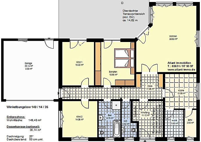 Winkelbungalow 149 / 14 / 35 - Grundrissvorschlag mit 4 Zimmern