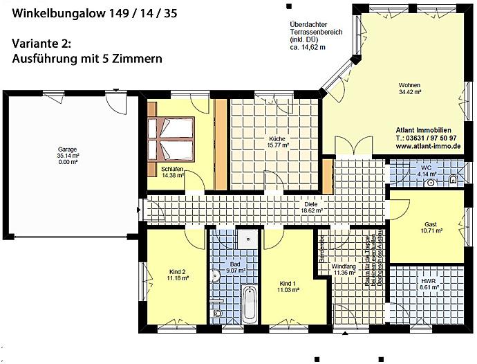 winkelbungalow 149 14 35 mit garage einfamilienhaus neubau massivbau stein auf stein. Black Bedroom Furniture Sets. Home Design Ideas