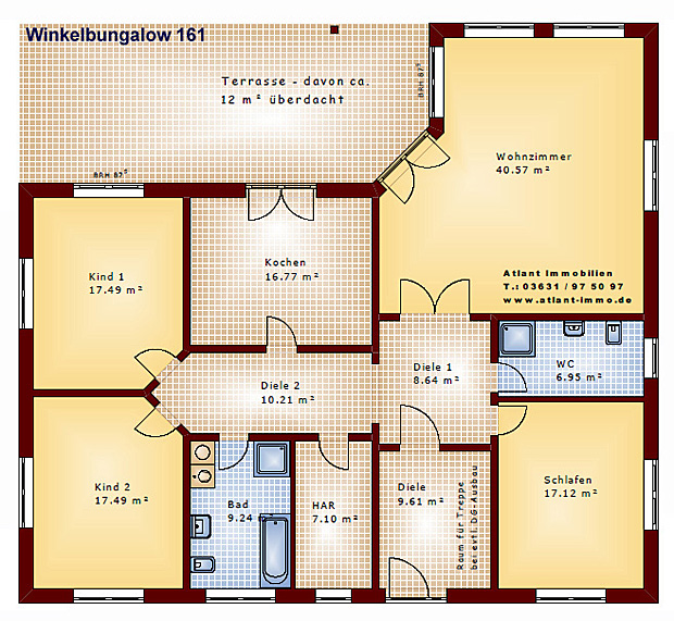 winkelbungalow 161 einfamilienhaus neubau massivbau stein auf stein. Black Bedroom Furniture Sets. Home Design Ideas