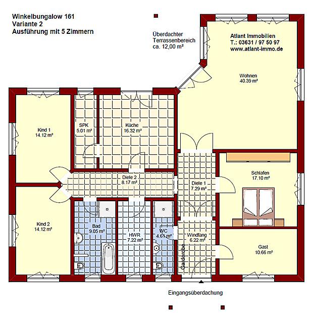 Winkelbungalow 161 einfamilienhaus neubau massivbau stein for Grundriss neubau einfamilienhaus