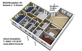 Grundriss bungalow 5 zimmer 3d  Winkelbungalow 161 Einfamilienhaus Neubau Massivbau Stein auf Stein