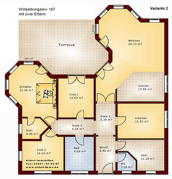 Grundriss bungalow mit einliegerwohnung  Winkelbungalow 167 mit 2 Erkern Einfamilienhaus Neubau Massivbau ...
