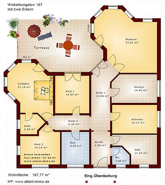 Grundriss Bungalow Mit Erker : Winkelbungalow 167 mit 2 Erkern Einfamilienhaus Neubau Massivbau Stein