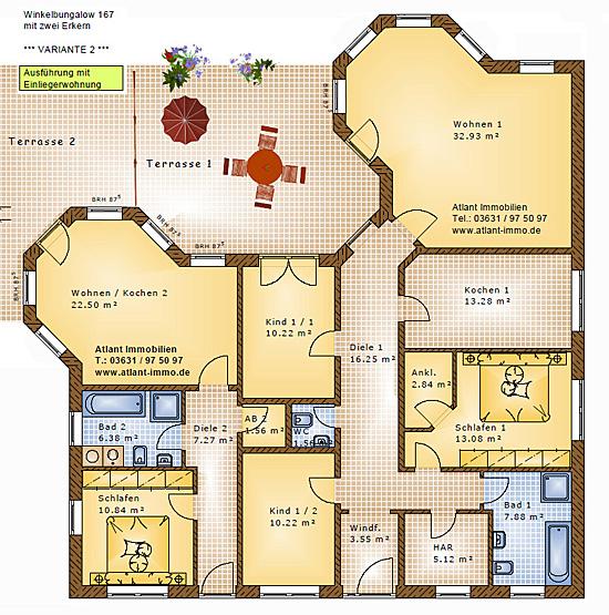 winkelbungalow 167 einliegerwohnung mit 2 erkern einfamilienhaus neubau massivbau stein auf stein. Black Bedroom Furniture Sets. Home Design Ideas