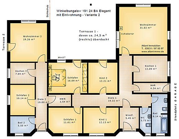 Grundriss bungalow u-form mit garage  Winkelbungalow 191 24 BA mit Einliegerwohnung und Atrium Neubau ...