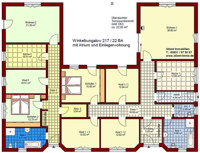 Atrium bungalow u form haus design und m bel ideen for Bungalow u form
