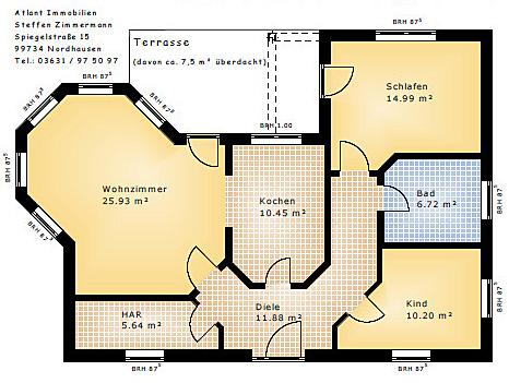 Winkelbungalow mit Erker Grundriss 86 qm Wohnflaeche Variante 1