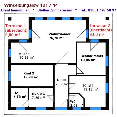Winkelbungalow 101 mit 2 Innenwinkeln Grundriss Erdgeschoss
