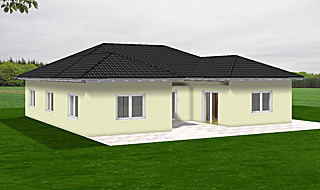 winkelbungalow 135 16 mit dreiseitig umschlossenem atrium und garage einfamilienhaus neubau. Black Bedroom Furniture Sets. Home Design Ideas