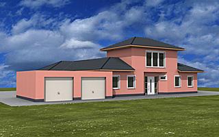 Einfamilienhaus neubau mit doppelgarage  Atrium 208 20 43 Winkelbungalow mit Turm und Garage ...