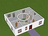 Bungalow 83 m² mit Atrium 13 m² Grundriss